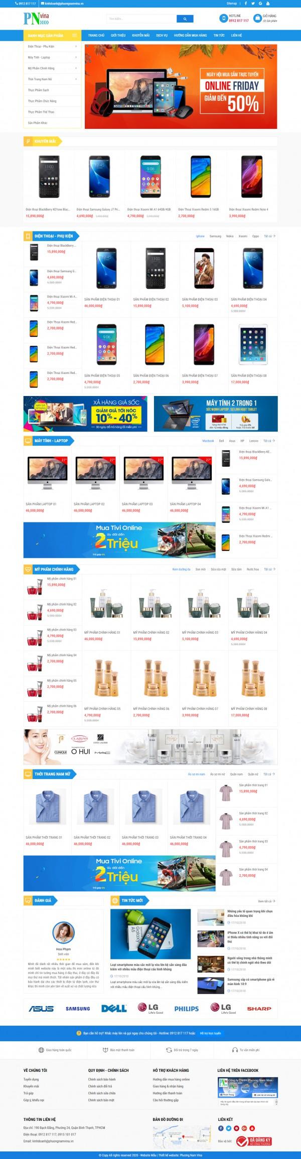 Mẫu web bán hàng chuyên nghiệp - MS19