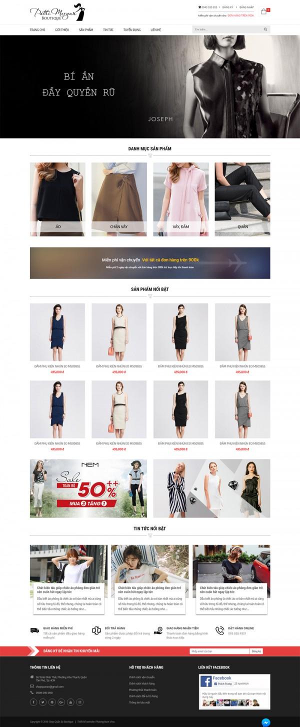 Mẫu website bán quần áo - MS40