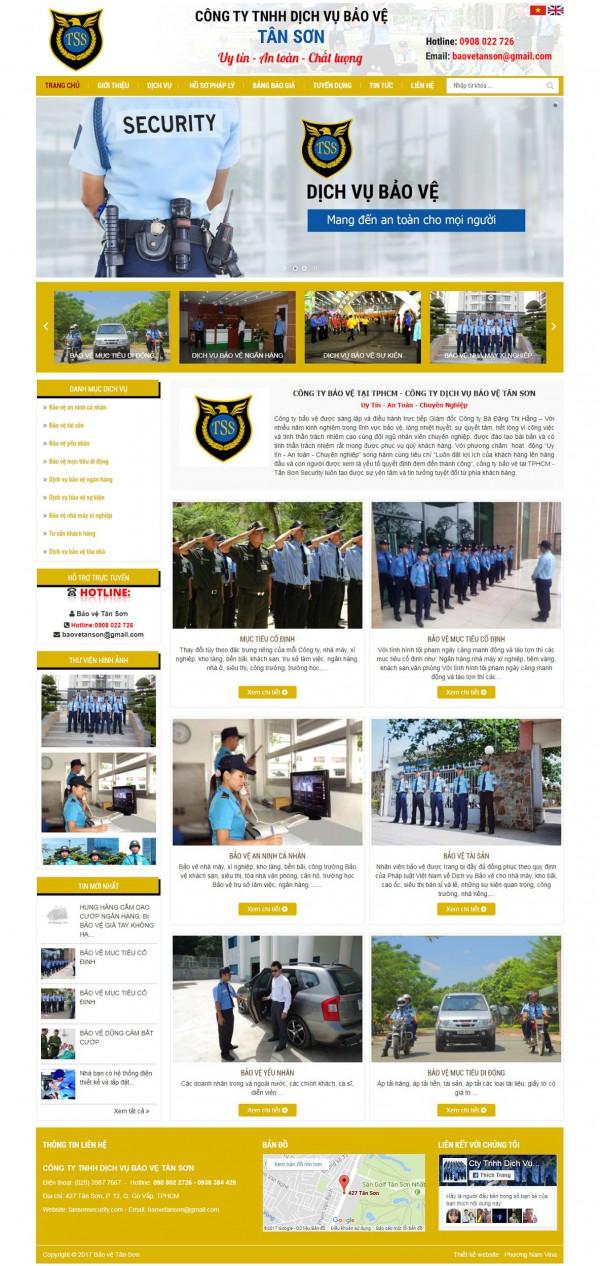 Mẫu website dịch vụ bảo vệ - MS12